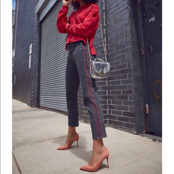 87312e6e2e8 Hudson Jeans Denim - Hudson Zoey Crop Straight Leg Jeans Red Stripe
